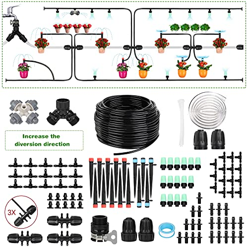 Sotor DIY Plant Irrigation System with 123 Pcs Accessories for Garden Backyard Greenhouse Lawn Adjustable Automatic Watering Saving System with Universal Faucet 4 Different Irrigation Ways