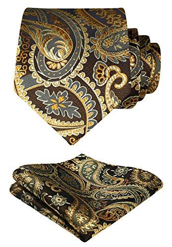 HISDERN Extra lange Blumen Paislry Krawatte Taschentuch Herren Krawatte & Einstecktuch Set (Gold & Braun)