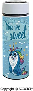 SCOCICI Vacuum Insulated Stainless Steel Water Bottle Flask Youre Sweet Quote with Baby Penguin Shaped Pony and Fish in the Sea Art Image Decor