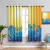 Cortina abstracta de aislamiento térmico Trippy Swirling Sea Waves Salpicaduras con rayos solares en el cielo Ilustración de dibujos animados cortina de interior naranja azul W72 x L72 pulgadas