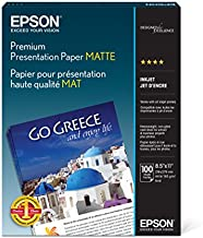 Epson Premium Presentation Paper MATTE (8.5x11 Inches, 100 Sheets) (S042180),Black