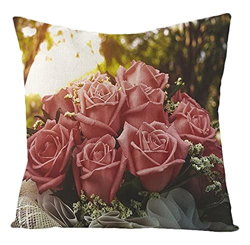 Agoble Cuscini Esterno Rosa Grappolo di Rose, Biancheria Federe Cuscini 40x40cm/16x16Inch