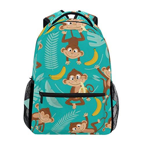 U LIFE Backpack School Bags Laptop Casual Bag for Boys Girls Kids Men Women Summer Monkey Tropical Banana Palm Trees