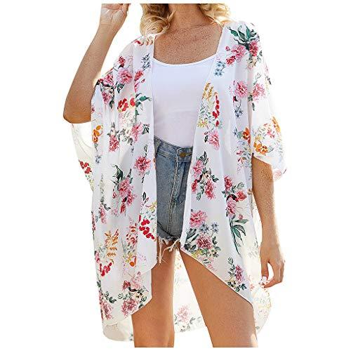 Damen Blumendruck Chiffon Beach Kimono Strickjacke Bluse Schal Loose Tops Outwear