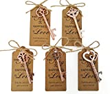 50pcs Skeleton Key Bottle Opener Wedding Party Favor Souvenir Gift with Escort Tag and Jute Rope (Rose Gold Tone,5 styles)