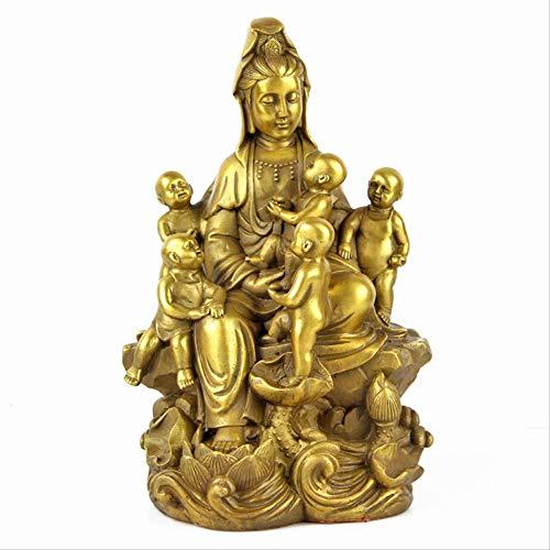 LSECE Retro Estatua de Bronce de Cobre Puro de Guanyin Cinco Hijos Estatua de Buda Guanyin adoración en el hogar Adornos de Buda