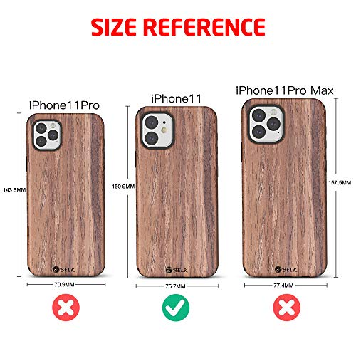 B BELK iPhone 11 Case 6.1 Inch, [Slim to Beat] Soft Wood Air Cushion Premium Rubber Bumper [Thin Matte] Flexible TPU Back Cover, Shock Resistant Wooden Shell for iPhone 11 6.1 Inch (Teak)