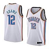 Camisetas de Baloncesto sin Mangas para Hombres-Oklahoma City Thunder 12# Steven Adams Uniforme de fanático del Baloncesto Camiseta de Chaleco de Tela Transpirable Fresca-White-L