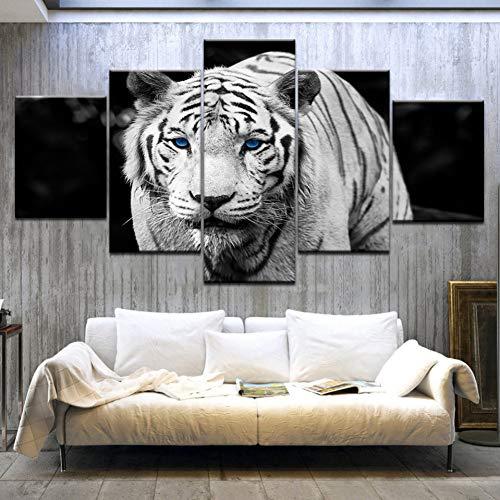 GHTAWXJ 5Panel / Stück Der weiße Tiger Blaue Augen Tierdruck auf Leinwand Kunstmalerei Für die Dekoration des Wohnzimmers zu Hause