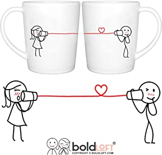 BOLDLOFT Say I Love Too Couples Coffee Mugs|Boyfriend Gifts for Anniversary Christmas Valentines Day
