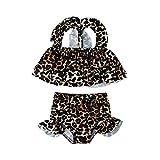 Fossen Bimba Neonata Neonata Costume da Bagno Ragazza Sirenetta Bambina Bimba Costume da Bagno 2 Pezzi Bikini con Fascia Fiocco Stampa Leopardata Costumi da Bagno