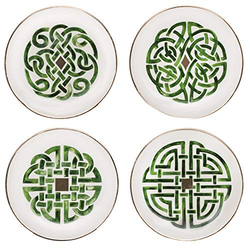 Creamy White Celtic Green Knot 6.5 x 6.5 Dolomite Decorative Serving Plate Set 4