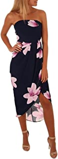 TOPUNDER Womens Off The Shoulder Boho Dress Lady Beach Summer Sundrss Maxi Dress