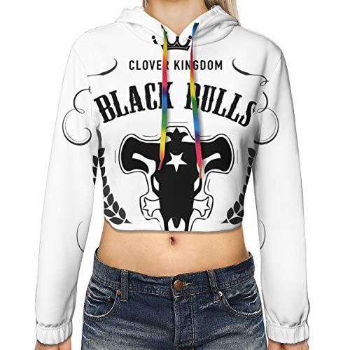 ZEGAILIAN Vrouwen Lange Mouw Zwarte Stieren Whisky Label Sweatshirt Crop Top Hoodies