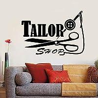 Ronronner 壁デカールテーラーショップロゴスレッド針はさみ壁ステッカー縫製スタジオウィンドウ装飾リムーバブル壁紙59×42センチ
