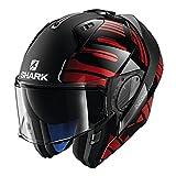 Shark Unisex-Adult Flip-Up Helmet (Black/Chrome/Red, KS - 63-64 cm - 24.8-25.2'')