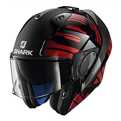 Shark Unisex-Adult Flip-Up Helmet (Black/Chrome/Red, KS - 63-64 cm - 24.8-25.2