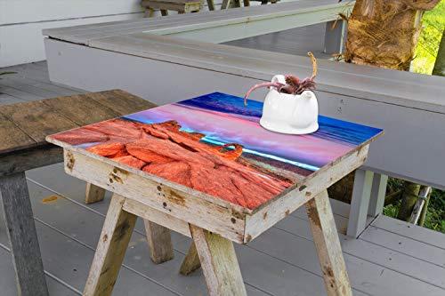 Wallario Aufkleber Selbstklebende Garten-Tisch-Decke - Farbenfrohes Naturdenkmal - Steinbogen im Nationalpark Arches in 90 x 90 cm