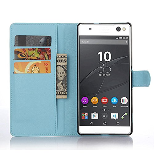 Ycloud Tasche für Sony Xperia C5 Ultra (6 Zoll) Hülle, PU Ledertasche Flip Cover Wallet Hülle Handyhülle mit Stand Function Credit Card Slots Bookstyle Purse Design blau