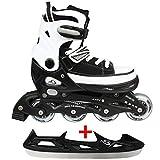 Cox Swain Sneak Kinder Inline Skates & Kinder Schlittschuh 2 in 1 - größenverstellbar ABEC5, Colour: Black, Size: S (33-36)
