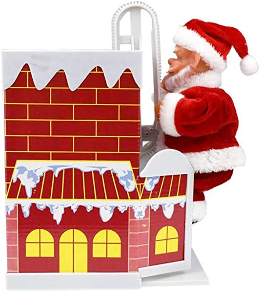 Santa Clause Plush Battery Operated Santa Claus Climbing Down Chimney With Music Christmas Decoration Santa Zipper Gift Toy TLT Retail