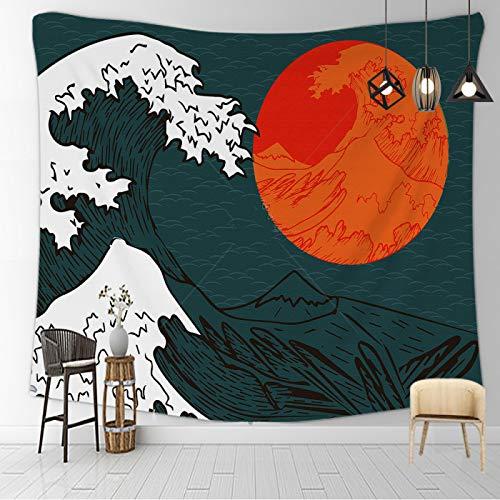 CNYG Manta psicodélica Kanagawa Wave Print Suspensión Manta Colgante de Pared Cama Bohemia Colgante de Pared Decoración del hogar Tapiz de Dormitorio Vento e Calendario 150x130CM