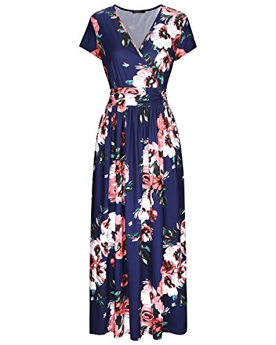 OUGES Women's V-Neck Pattern Pocket Maxi Long Dress(Floral-7,L)