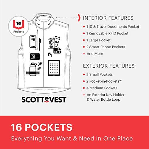 SCOTTeVEST Men's Featherweight Travel Vest | 16 Pockets | Anti-Pickpocket