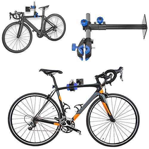 HUZONG Bike Bench Mount Clamp Repair Rack Stand Work Stand, Bicycle Maintenance, Space Saving Tool for Home Garage Parking, Wall-Mounted Adjustable Clamp Mechanic Maintenance Cycle Storage Workstand