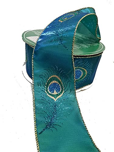 Whimsy Peacock Feather Emerald & Gold Wire Edge Premium Holiday Tree Decorating Bow Gift Wrapping Ribbon 2.5' Wide by 50 Yards