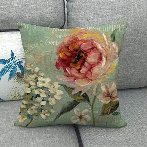 LPLH Funda de Almohada de Lino con Estampado de Flores Rojas Funda de Almohada de Abrazo de 057-3_45 * 45cm