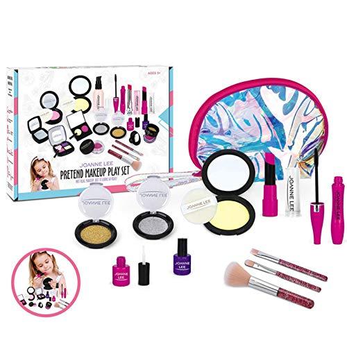 12 piezas de maquillaje para niños y niñas, lavable, con maletín de maquillaje, juego de maquillaje para niños, lavable, juego de cosméticos, maletín de maquillaje, juego de rol, regalo