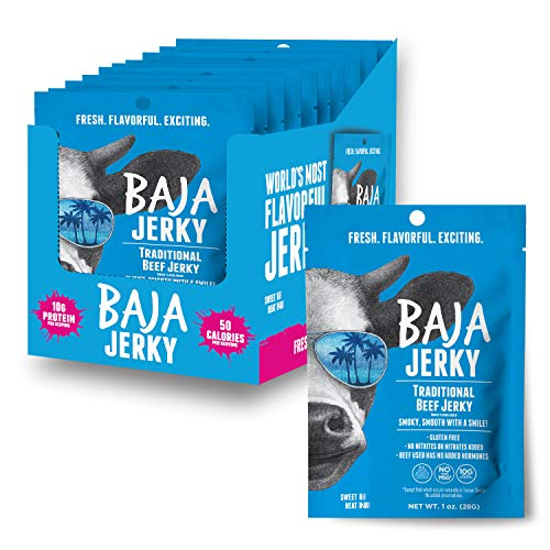 Baja Beef Jerky | Keto Friendly, Gluten Free, Low Calorie Craft Jerky | 25g Protein, 100% All-Natural Beef, No Nitrates | 10 Pack | 1 oz Snack Pack