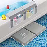 Comfortable Bath Kneeler and Elbow Kneeling Rest Pad for Baby Bathing Parents - Painless Foam Mat with Toy Organizer Pockets - Quick Drying, Foldable, Non-Slip for Baby and Toddler Bathing