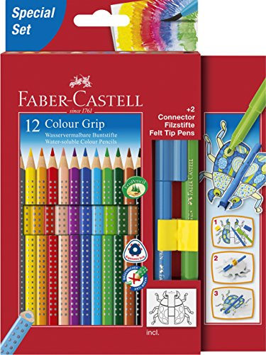 Faber-Castell 201396 - Buntstift Colour Grip, 12er Stück Etui, inklusive zwei Connector Filzstifte