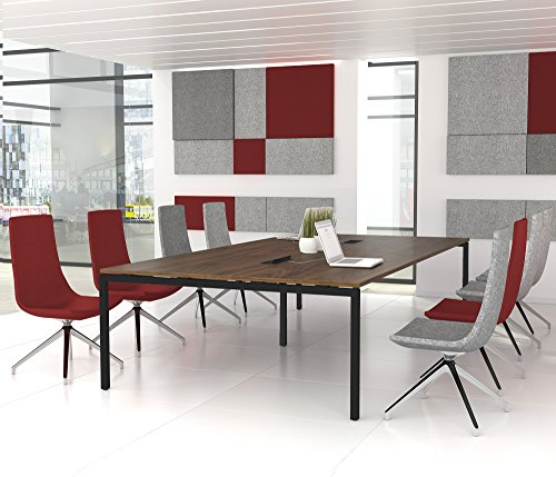 NOVA Konferenztisch 320x164cm Nussbaum mit ELEKTRIFIZIERUNG Besprechungstisch Tisch, Gestellfarbe:Anthrazit