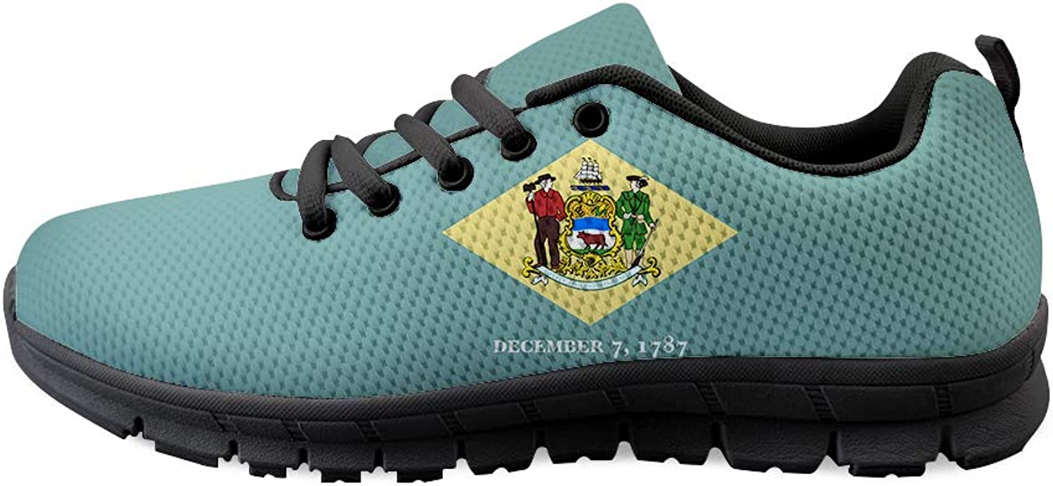 Owaheson Lace-up Sneaker Training shoes Mens Womens Diamond Delaware Flag