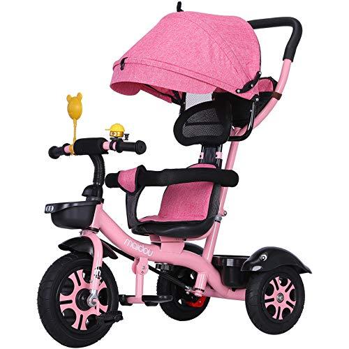 3 En 1 Triciclo para NiñOs Pedales RotacióN Bidireccional Cochecito con Plegable Capota ExtraíBle Barra TelescóPica para De 12 Meses A 6 AñOs,Pink