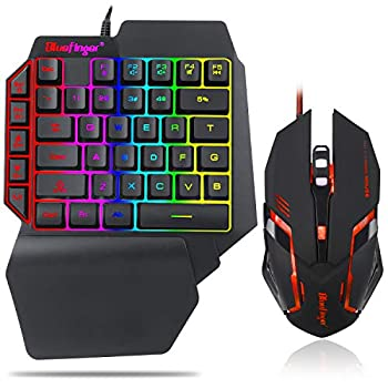 One Hand RGB Gaming Keyboard and Backlit Mouse Combo,USB Wired Rainbow Letters Glow Single Hand Mechanical Feeling Keyboard with Wrist Rest Support Gaming Keyboard Set for Game
