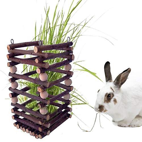 Henera para Conejo Cobaya - Alimentador De Heno, Comedero De Madera para Conejos Chinchilla Hamster Cobayas, 10x10x18cm