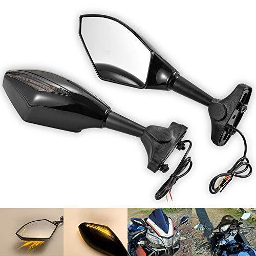 NATGIC Espejo Retrovisor Universal para Motocicleta de 1 par con Luces Indicadoras de Giro LED Luces Indicadoras de Motocicleta para Harley - Negro Brillante
