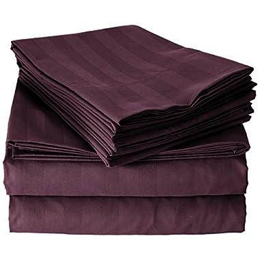 Elegant Comfort Best, Softest, Coziest 6-Piece Sheet Sets! - 1500 Thread Count Egyptian Quality Luxurious Wrinkle Resistant 6-Piece DAMASK STRIPE Bed Sheet Set, King Eggplant/Purple