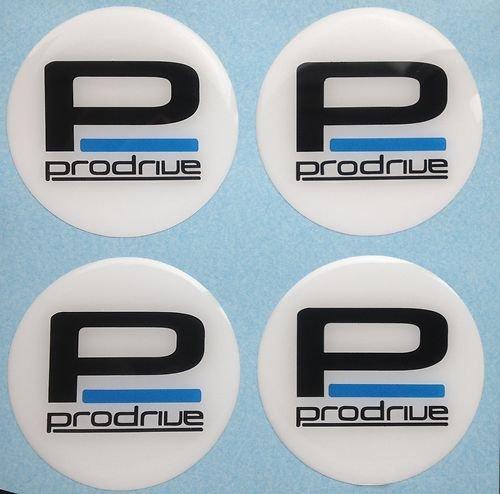SCOOBY DESIGNS Prodrive Lot de 4 cache-moyeux autocollants en plastique bombé Blanc 60 mm