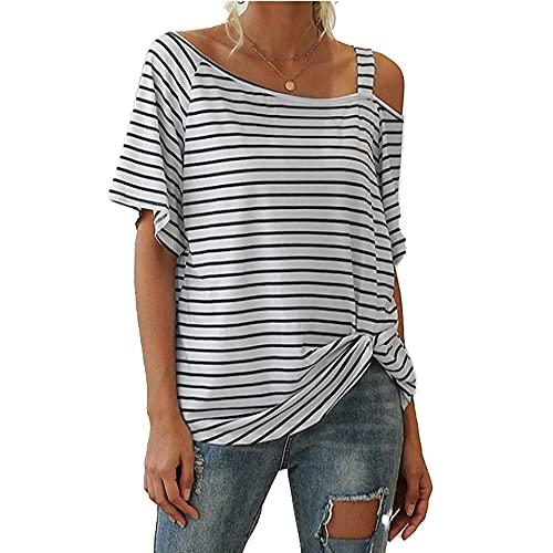 Camiseta de manga corta con nudo de rayas anchas y cuello inclinado para mujer, blanco, L