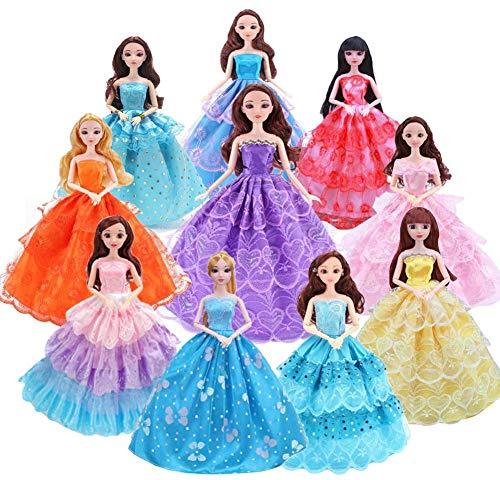 WENTS 10 Stück Mode Kleider für Fashionistas Puppe Prinzessin Abendkleid Brautkleider Outfit Kleidung Kleid Pupenkleidung Spitzenkleider Ballkleider für 11 Zoll Doll