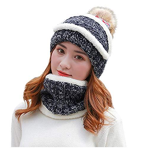 Lazzboy Store Wintermütze + Schal Frauen Strick Wolle Hut Pompon Cap Set Warm Winter...