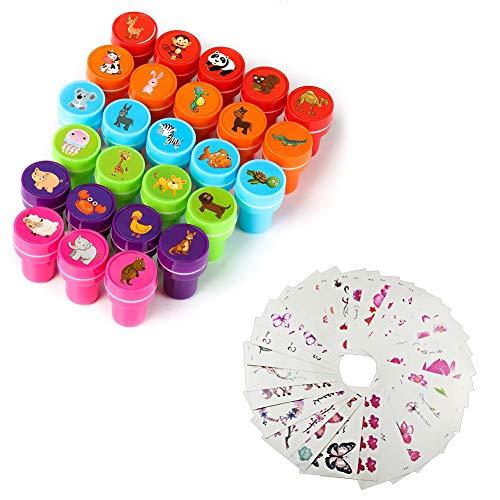 Juego de toallas de sello Niños sellos 26Unidades, Pegatinas Stickers para niños 30hojas, tampón Incluso färber sellos de Profesor para Juego, diversión, Hobby