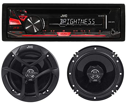 Package: JVC KD-R370 in-Dash Car Stereo CD/MP3 Player Receiver w/Dual Aux Inputs + Pair of JVC CS-J620 Wireless 6.5' 2-Way Coaxial Car Speakers Totaling 600 Watt Peak/60 Watt RMS