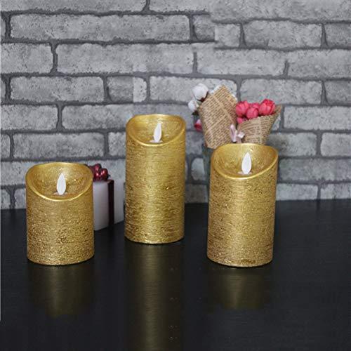 Uonlytech Velas sin llama LED Luz de vela parpadeante Luces de té para fiesta de Navidad de Halloween sin batería Dorado (7.5x15cm)