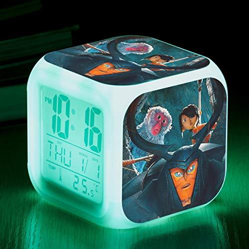 huangyung Reloj Despertador de Dibujos Animados,Kubo Vistoso Reloj Despertador para niños, Reloj Despertador Digital con luz, Reloj Despertador pequeño de Color, (8 * 8 * 8CM) 7
